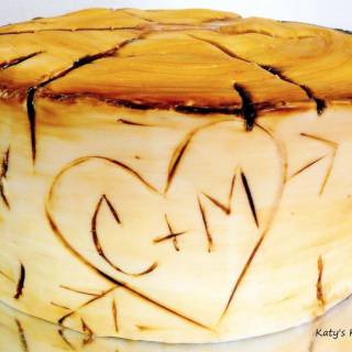 Tree Stump Heart with Initials Wedding Cake Cedar Rapids Iowa