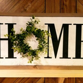 "HOME Sign with Wreath Accent 12"" x 24"""