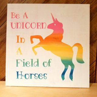 Rainbow Unicorn Painted Wood Sign 12″ x 12″