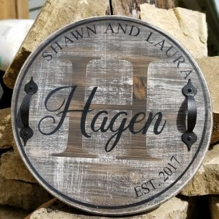 Personalized Rustic Barrel Style Serving Tray