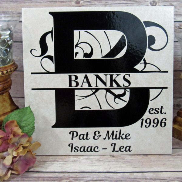 Custom Ceramic Tile/ Personalized Split Monogram Family Tile