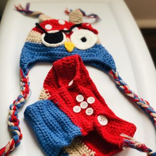 Newborn Pirate Owl Crochet Diaper Cover Set Photo Prop