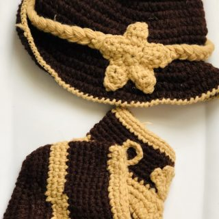 Newborn Baby Cowboy Crochet Photo Prop