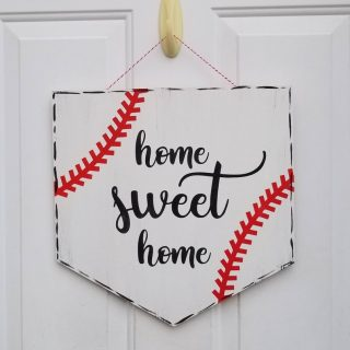 Baseball plate door hanger - Home Sweet Home