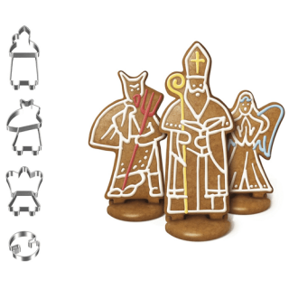 Christmas Cookie Cutters- St. Nicholas, Angel, Devil Stand Up Cookies