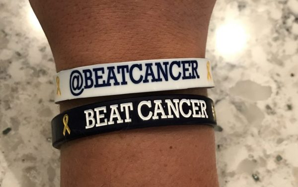 Beat Cancer Wristband Navy & White (Reversible)