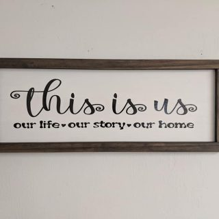 This is Us, Our Life, Our Story, Our Home - Large Wood Framed Home Decor Sign