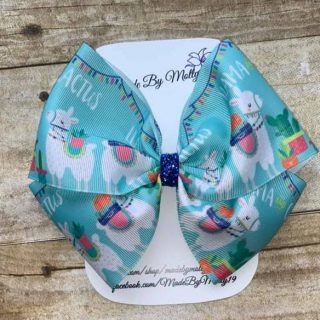 Llama and Cactus Boutique Hair Bow